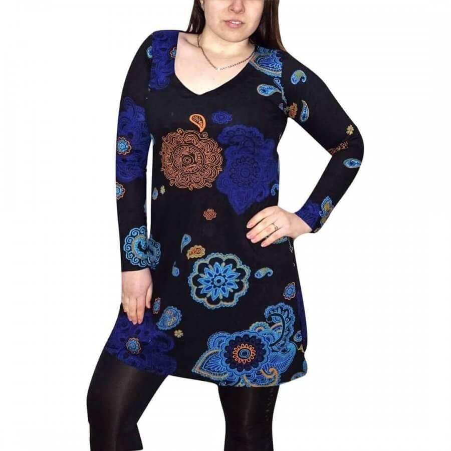 Elegáns Tunika Fekete alapon egyedi kék mintával