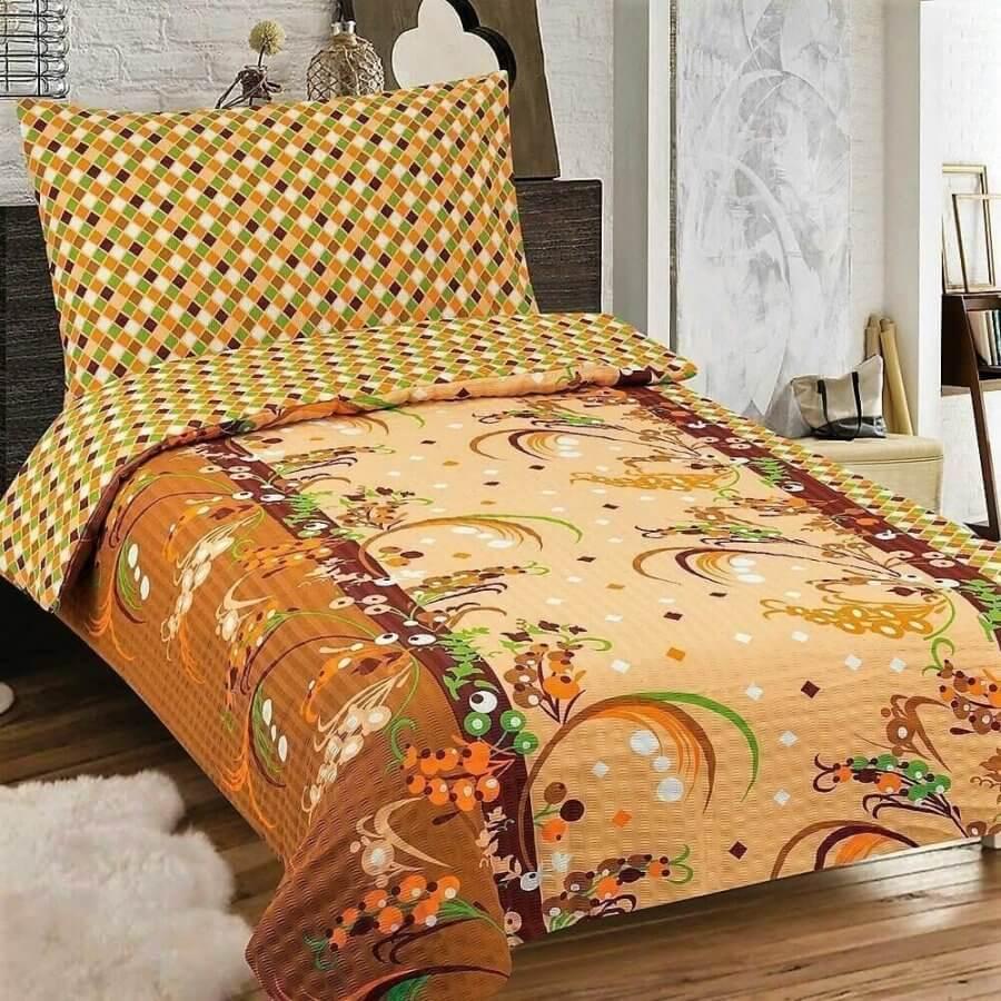 Bézs és barna színben virág mintás krepp ágyneműhuzat, 3 részes