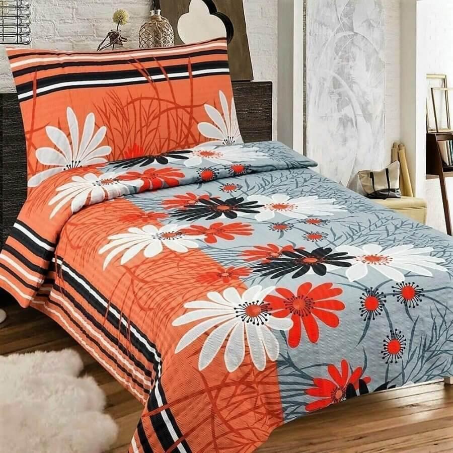 Narancs és szürke színben virág mintás krepp ágynemű,3 részes