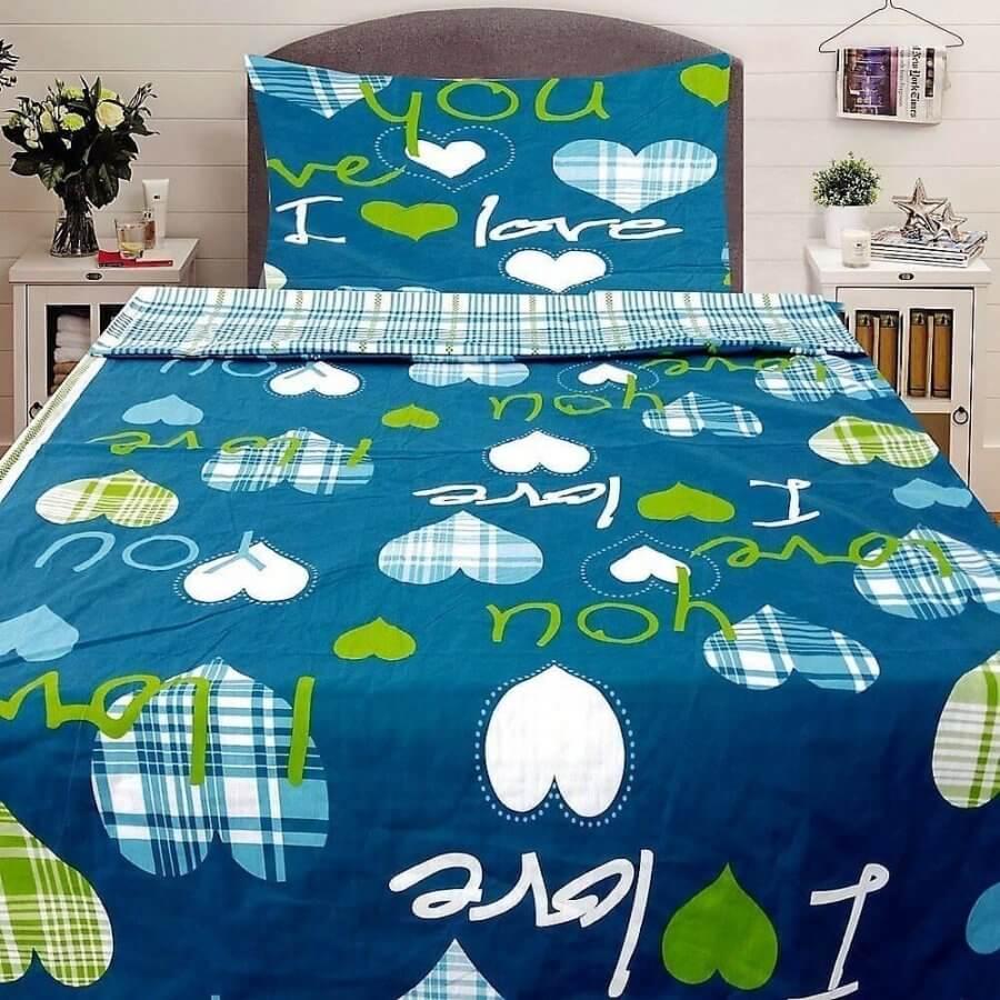 pamut ágynemű kék színben love és szív mintával