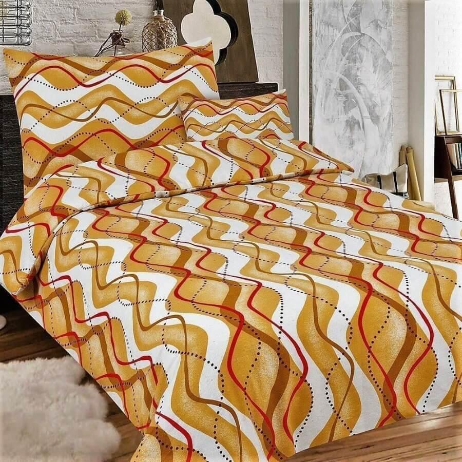 flanel ágynemű villagős barna és piros hullámos minta