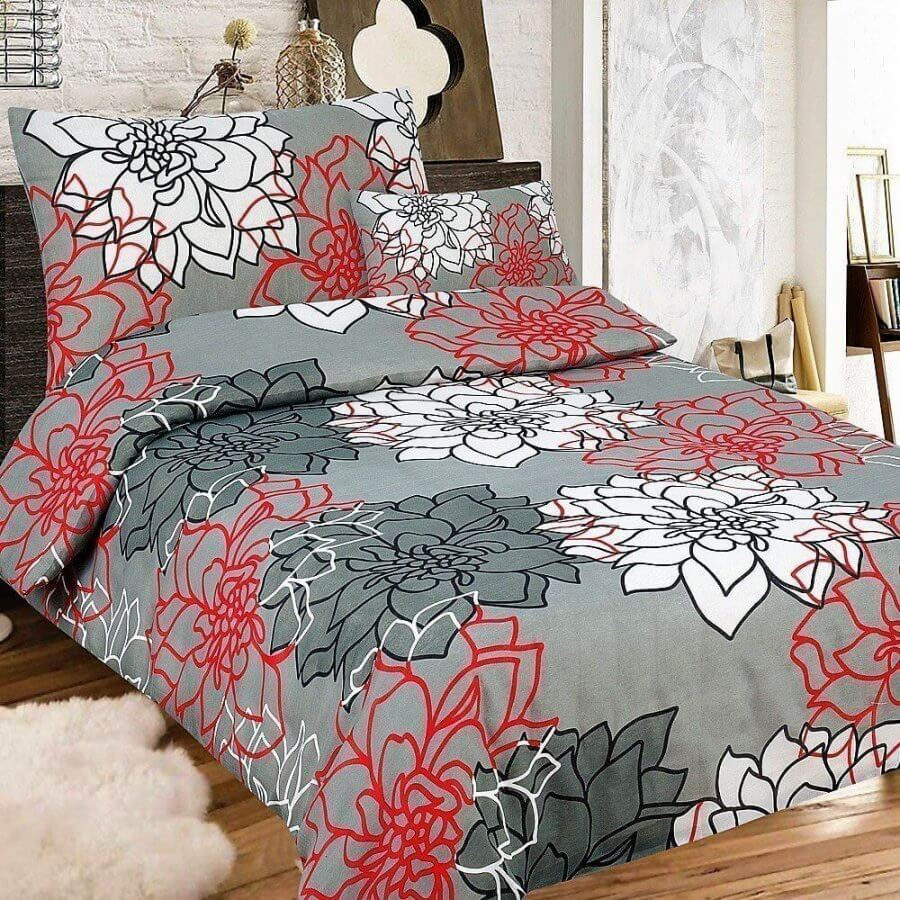 3 részes krepp ágynemű szürke piros és fehér nagy varágos