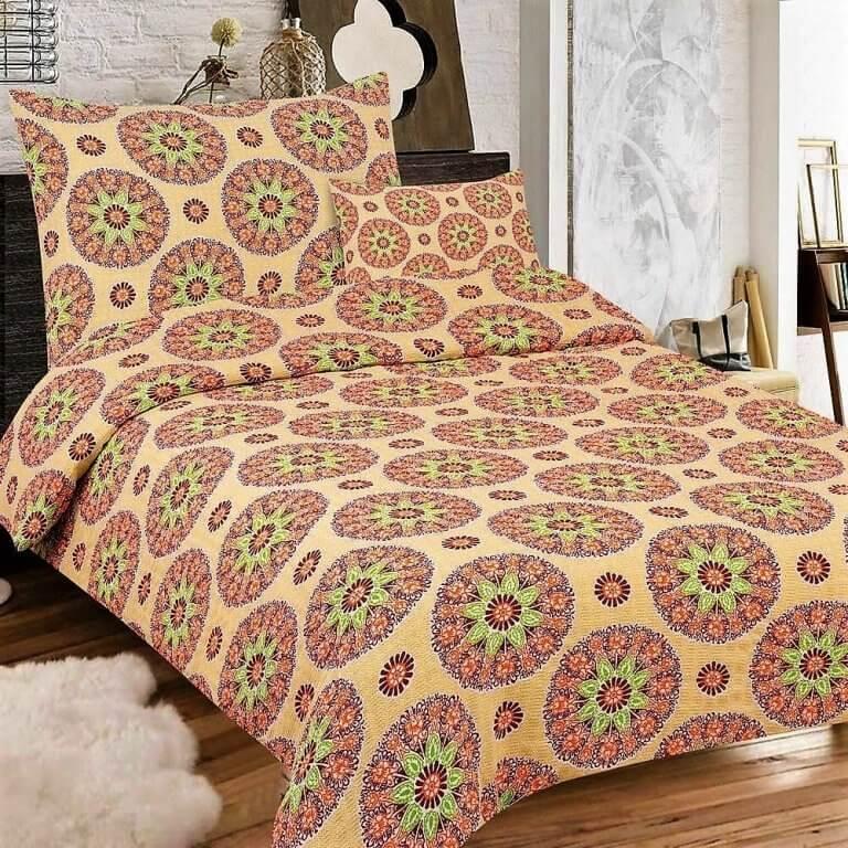 Sárgás színű alapon mandalás minta-3 részes krepp ágynemű