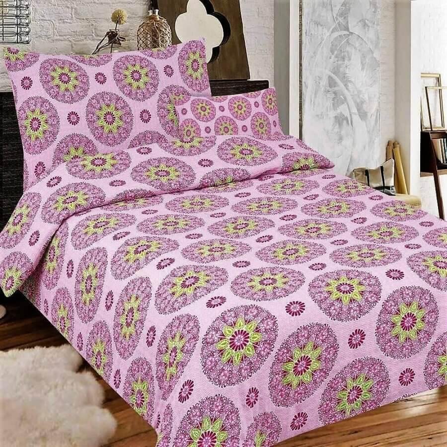 Lila színű alapon mandalás minta-3 részes krepp ágynemű