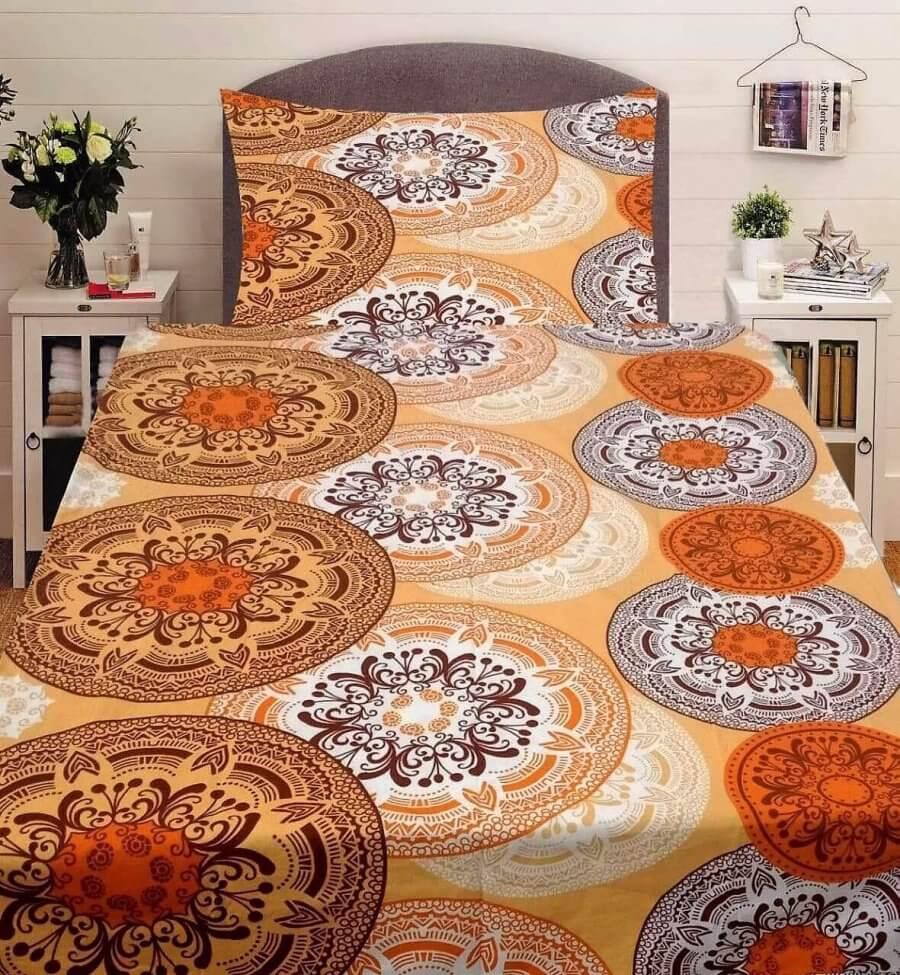 Narancs színben mandala mintás 2 részes pamut ágyneműhuzat