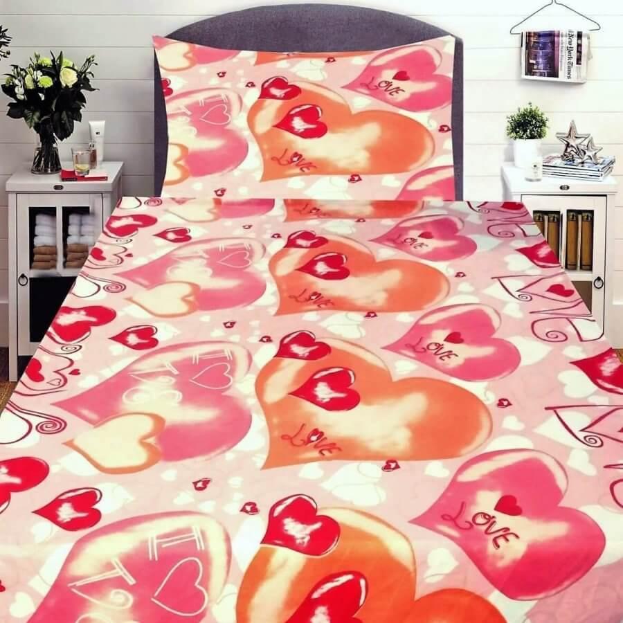 3 részes flanel ágynemű piros szinben nagy sziv mintával