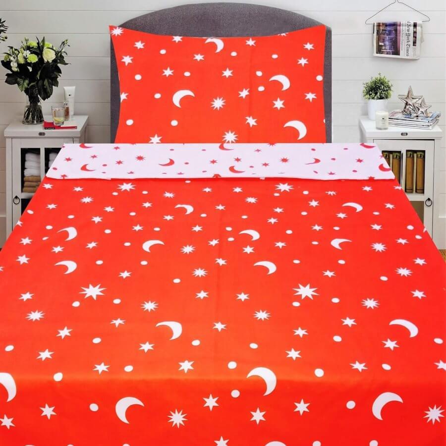 pamut ágyneműhuzat piros színben csillag minta