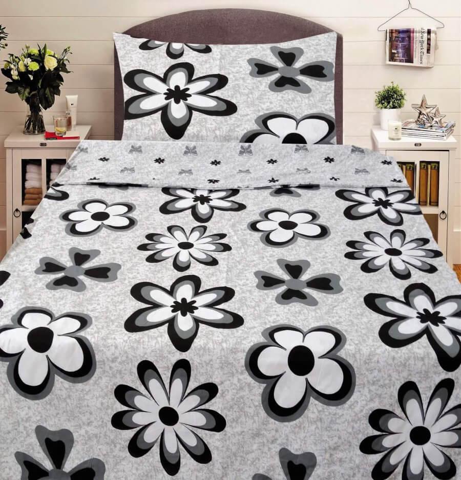 Pamut ágyneműhuzat 2 részben szürke alapon virág mintával.