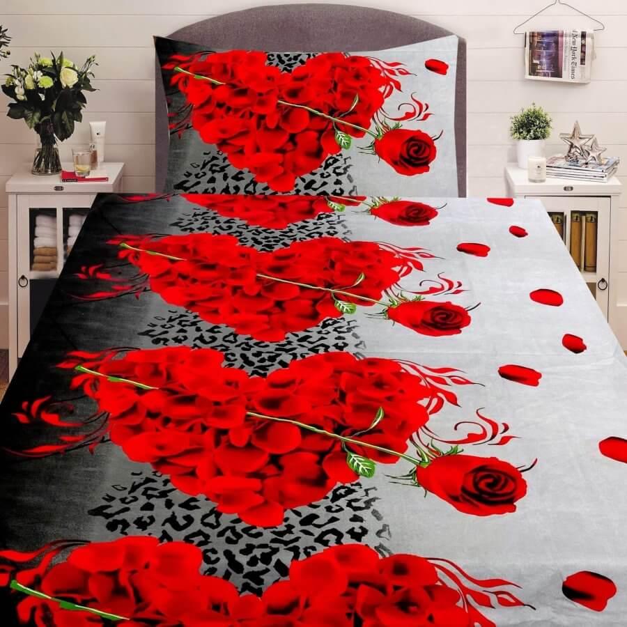 406607ccfa Pamut ágyneműhuzat 2 részben vörös szív és rózsa mintával. 2 választható  színben