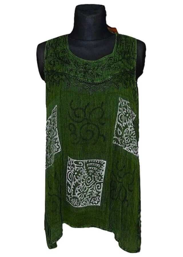 Tunika Indiából- ujjatlan-zöld nagy méret 240001