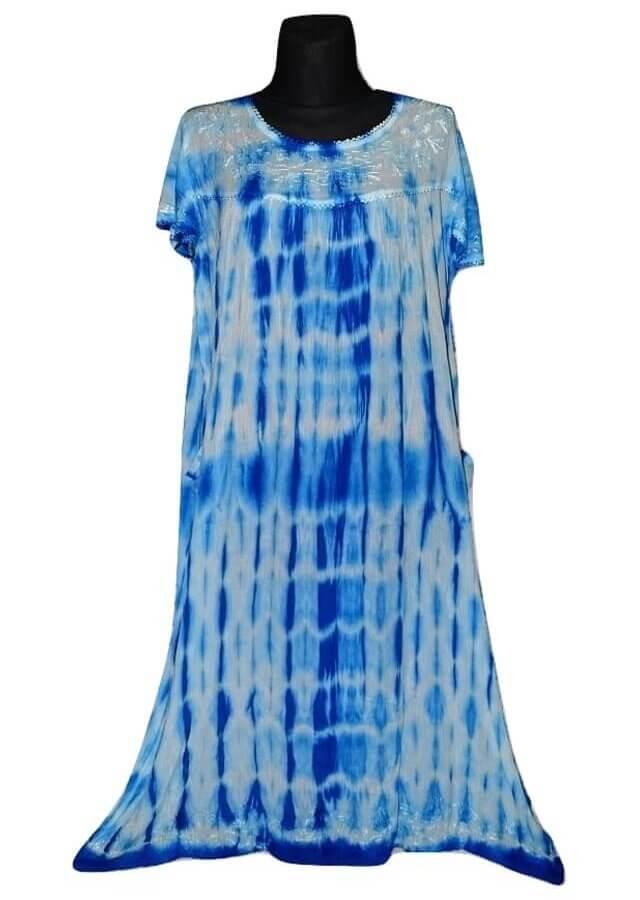 Extra méretű ruha Indiából kék színben