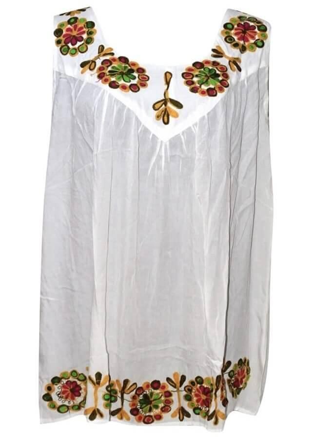 Tunika Indiából- ujjatlan-virágos nagy méret fehér színben hímzett minta