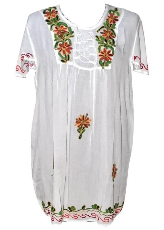 Tunika Indiából extra nagy méret fehér színben hímzett minta 81002