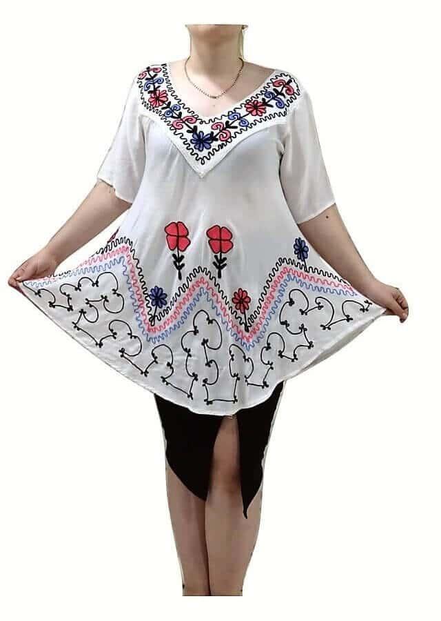 Tunika Indiából extra nagy méret fehér színben hímzett minta 81003