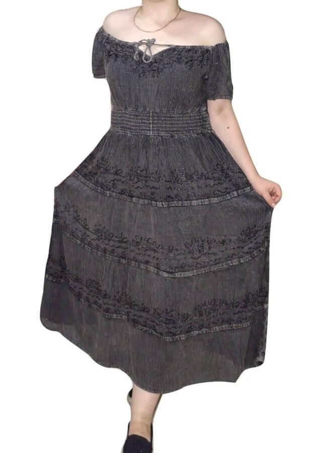 Rövid ujjú hosszú ruha Indiából gumis derék résszel, 2604