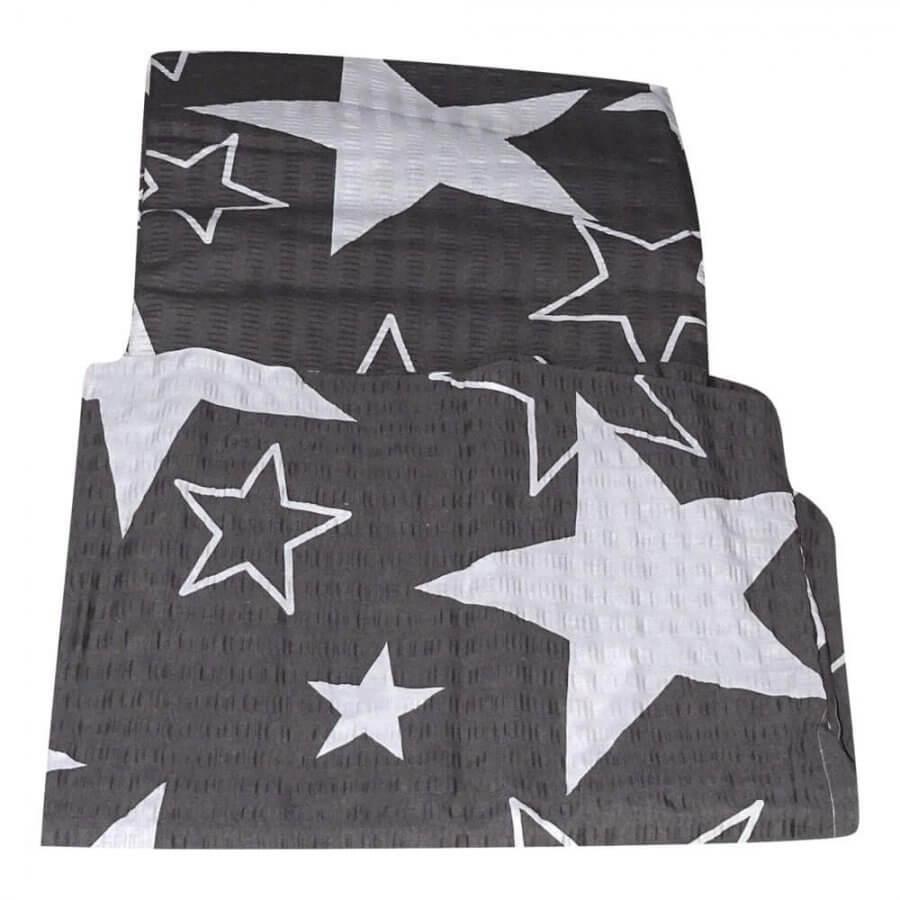 krepp ágynemühuzat 2 részes szett szürke alapon feher csillag minta-1