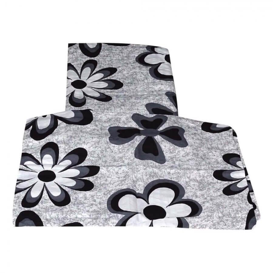 krepp ágyneműhuzat 2 részes szett szürke színben nagy virág mintával -1