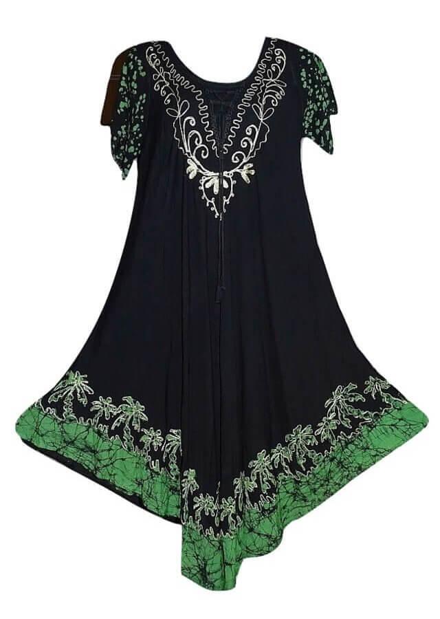 Indiai hosszú batikolt ruha 501- zöld