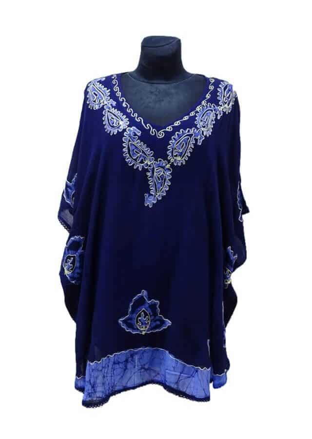 Batikolt poncsó Indiából-kék extra nagy méret 18