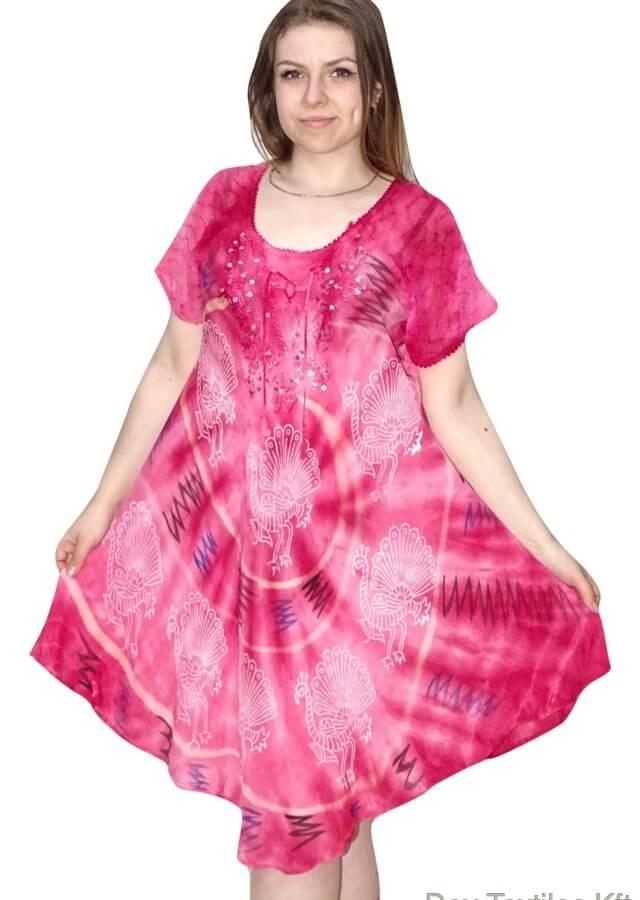 színes halvány páva mintás pink 504