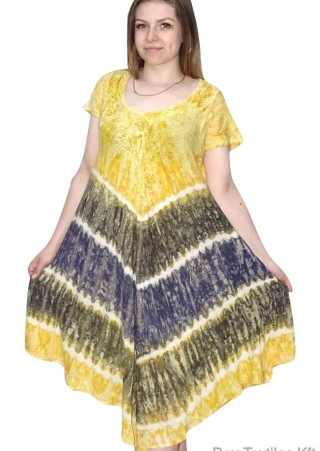 Rövid Ruha-Csíkos és színes Ruha Indiából Sárga 2606