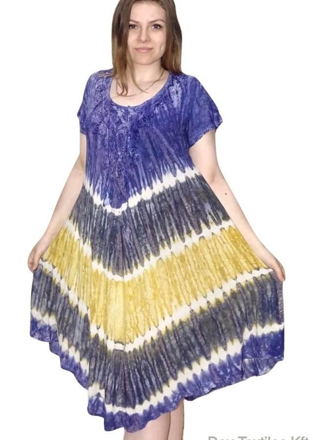 Rövid Ruha-Csíkos és színes Ruha Indiából Kék 2606