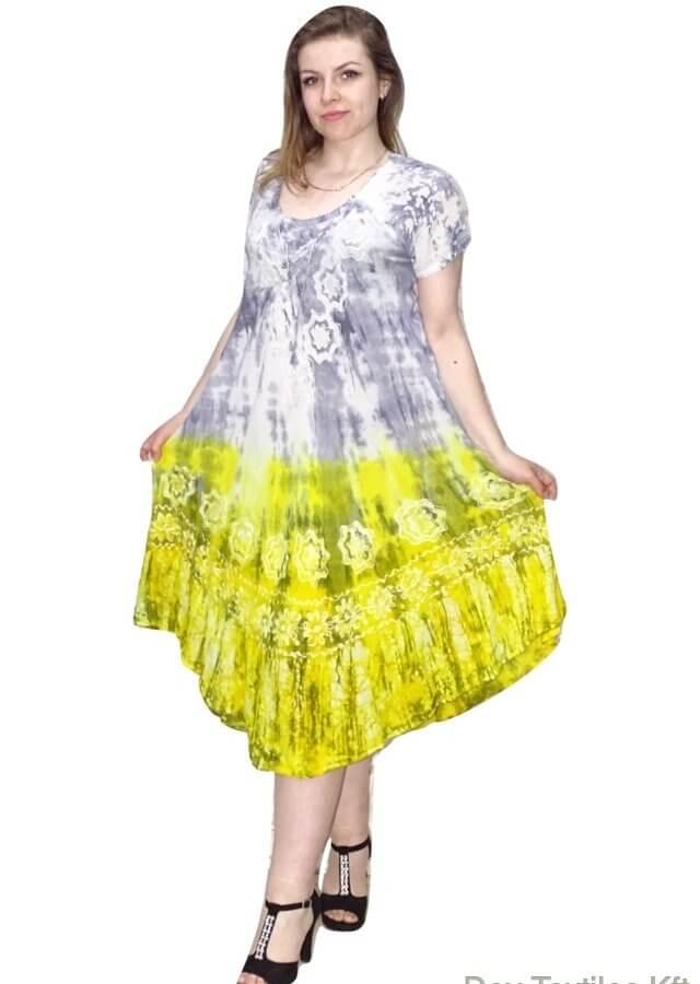 Indiai hosszú ruha élénk színekben virág