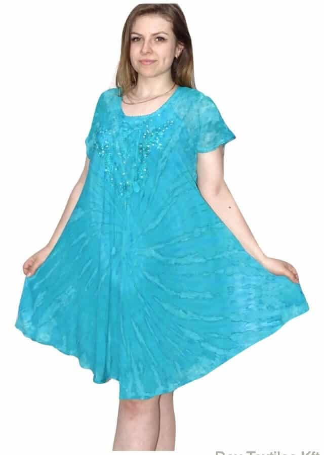 rövid ruha élénk színekben tengerkék