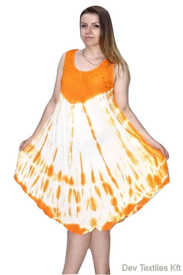 Rövid nyári Indiai ruha trendi mintával narancs
