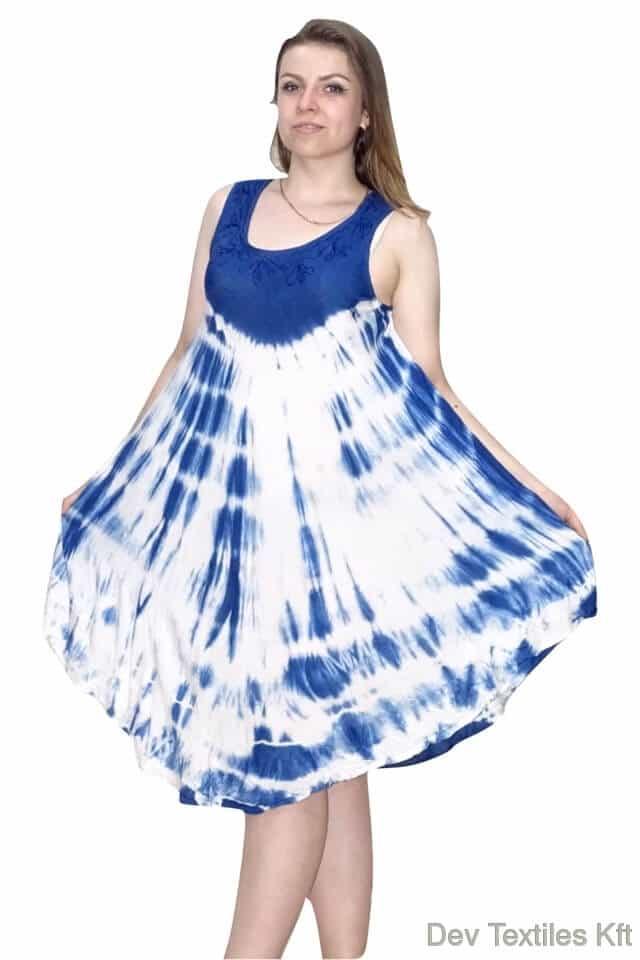 Rövid nyári Indiai ruha trendi mintával világós kék