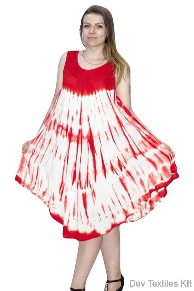 Rövid nyári Indiai ruha trendi mintával piros