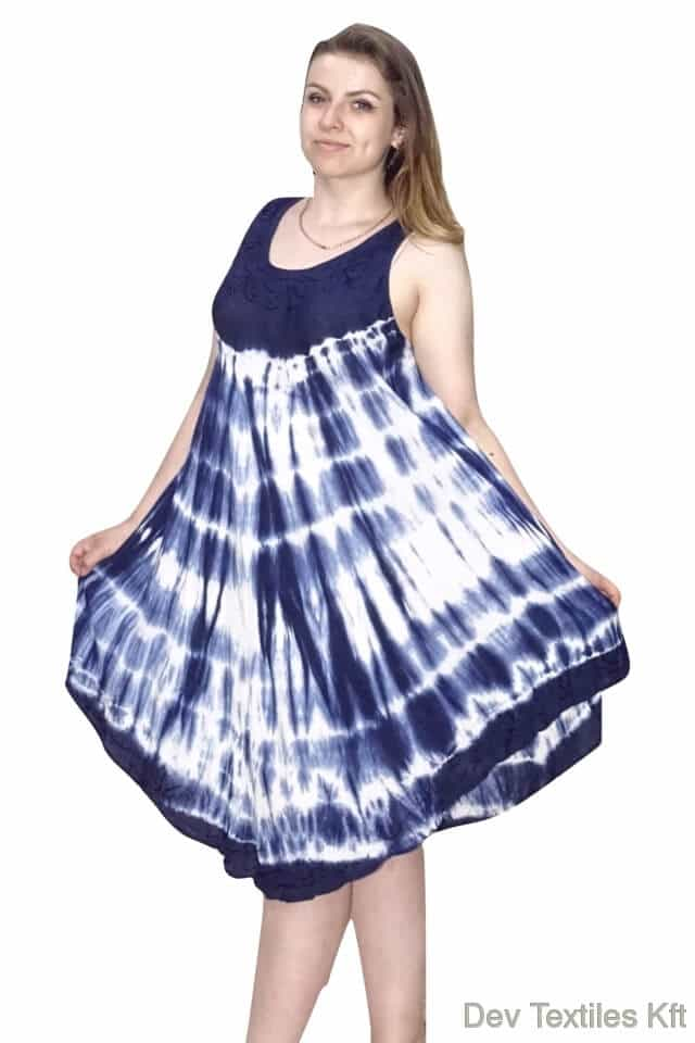 Rövid nyári Indiai ruha trendi mintával kék