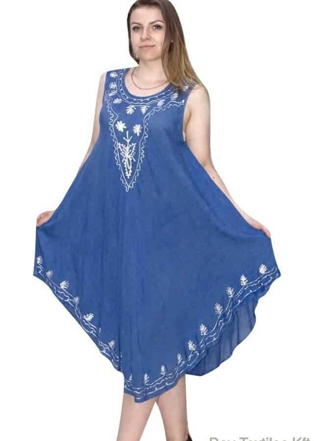 Hímzett Mintával Rövid Nyári Ruha Indiából indigo blue