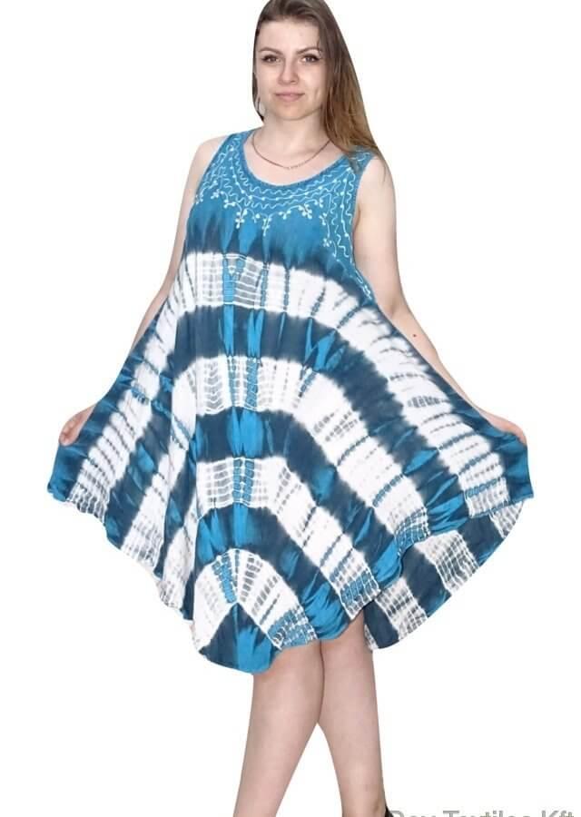 Rövid nyári Indiai ruha élénk mintával kék