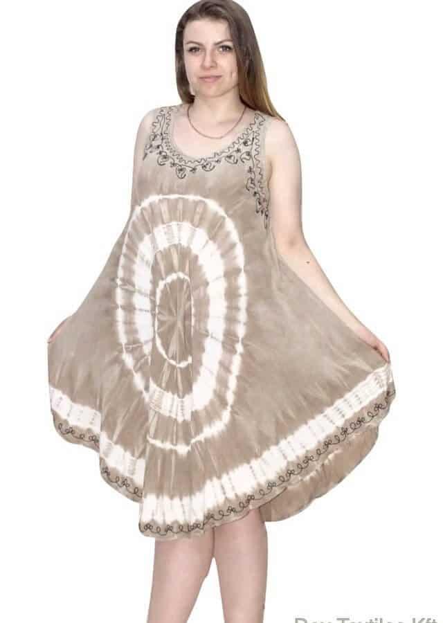 Rövid nyári Indiai ruha keleti mintával drapp