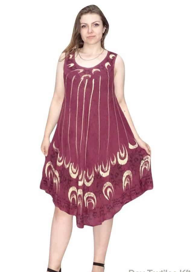 Rövid nyári ruha indiából virag mintával pirós