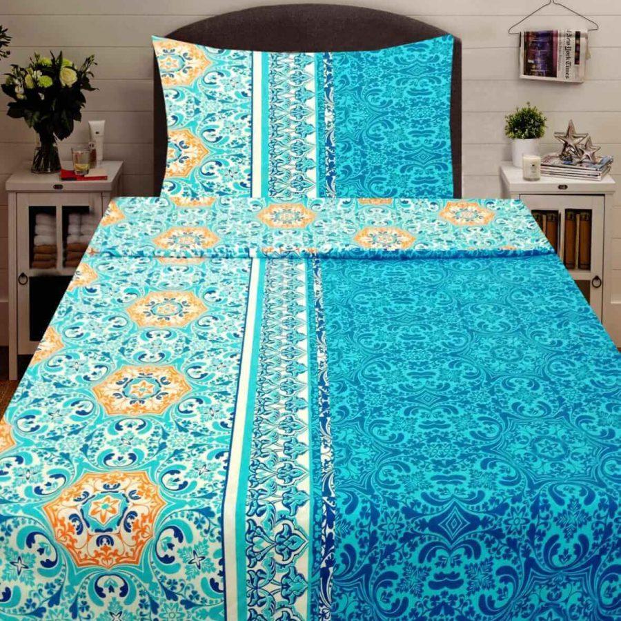 pamut 2 részes ágyneműhuzat kék színben