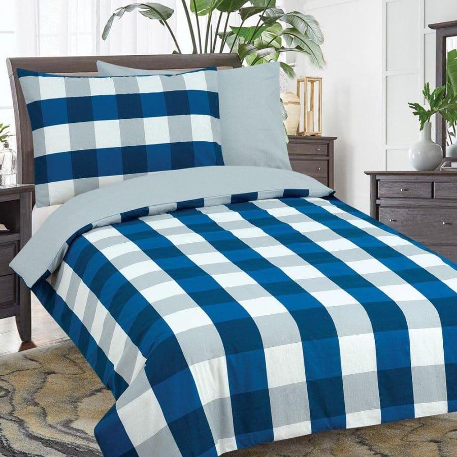 pamut 2 részes ágyneműhuzat kék kockás