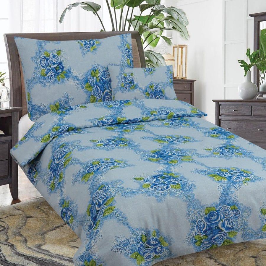 flanel 3 részes ágyneműhuzat kék rózsa minta