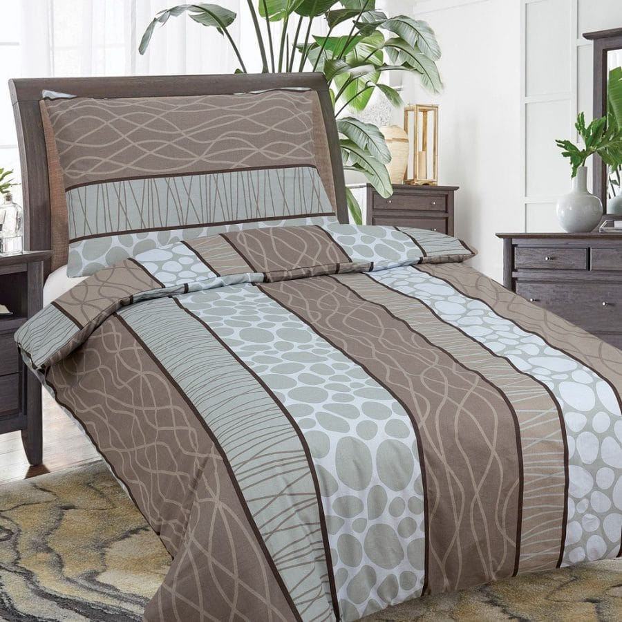 pamut ágynemű hagyományos csíkok, világosbarna színű