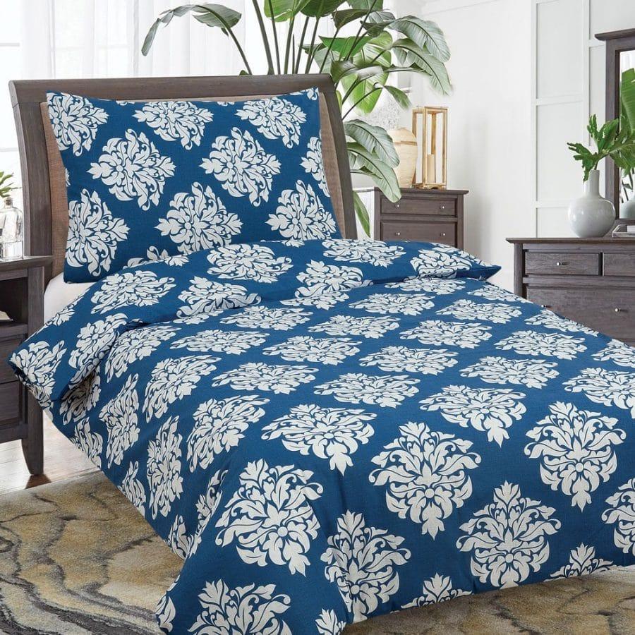 pamut ágyneműhuzat 2 részes kék színben