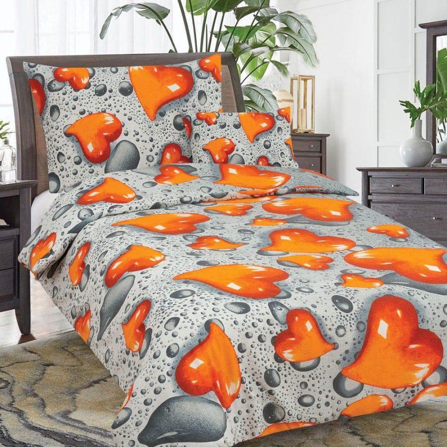 flanel 3 részes ágyneműhuzat narancs szív mintával