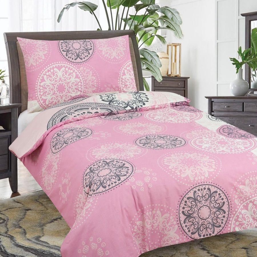 pamut ágynemű 2 részes pink színben