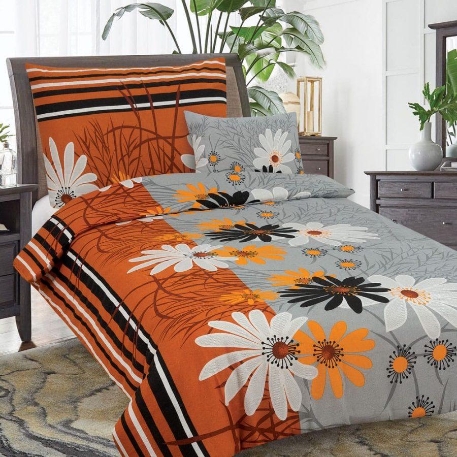 flanel 3 részes ágyneműhuzat narancs színben