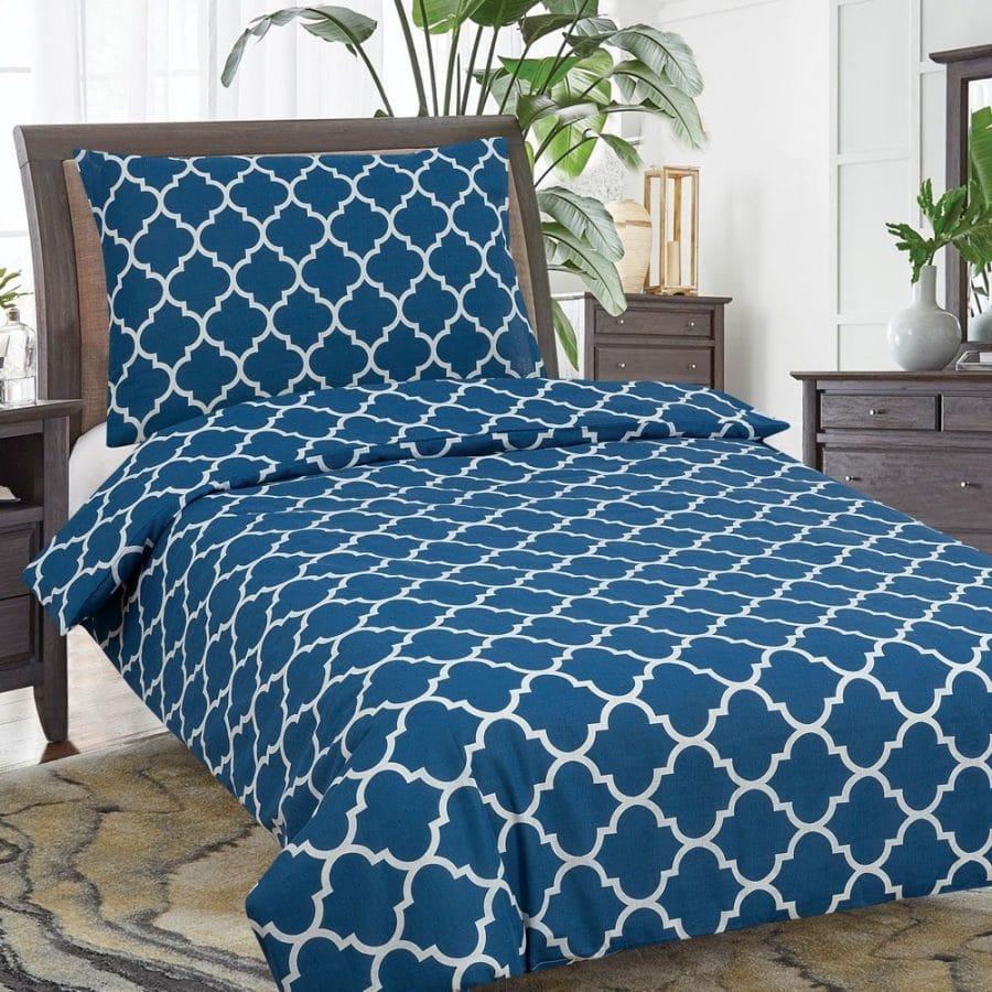 pamut ágynemű hagyományos minta királyi kék színben