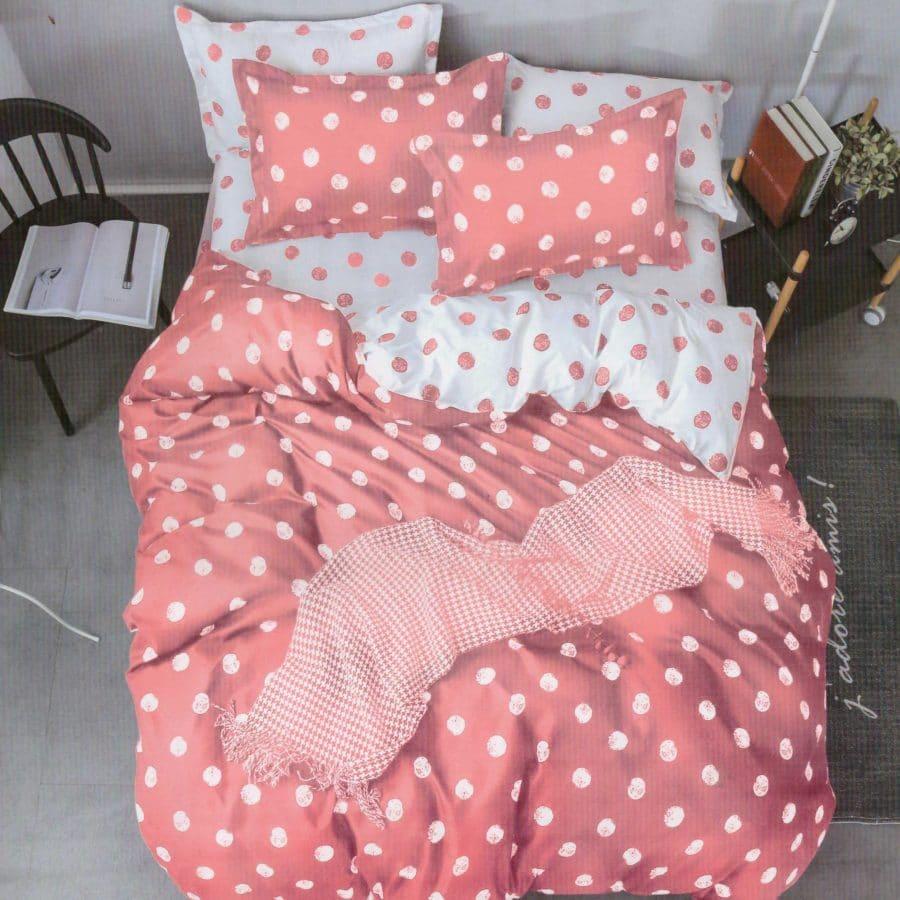 pamut 7 részes ágyneműhuzat pink pöttyös