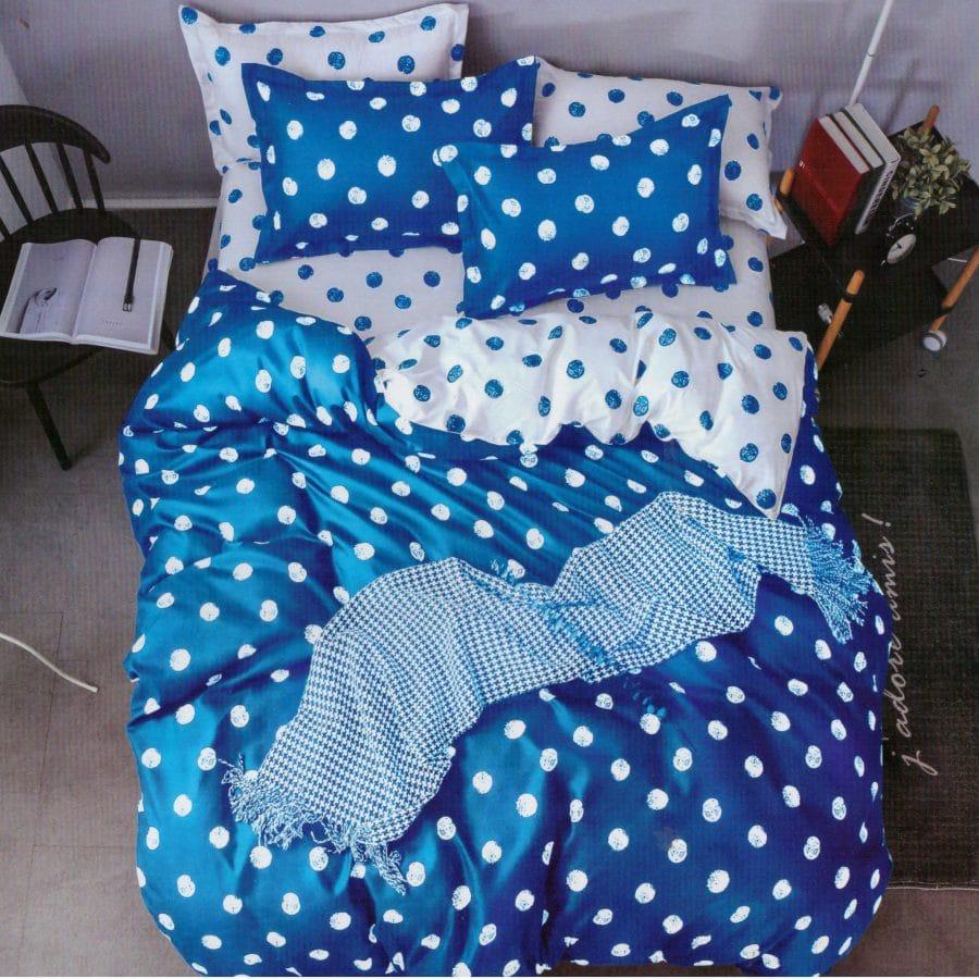 pamut 7 részes ágyneműhuzat kék pöttyös