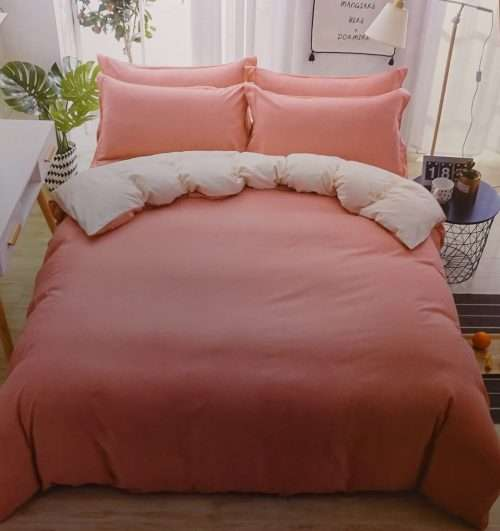 3 részes pamut ágynemű mályva és krém színben