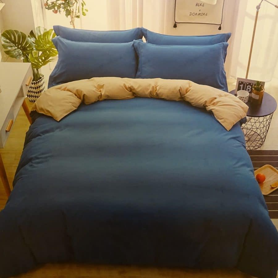 3 részes pamut ágynemű kék és drapp színben