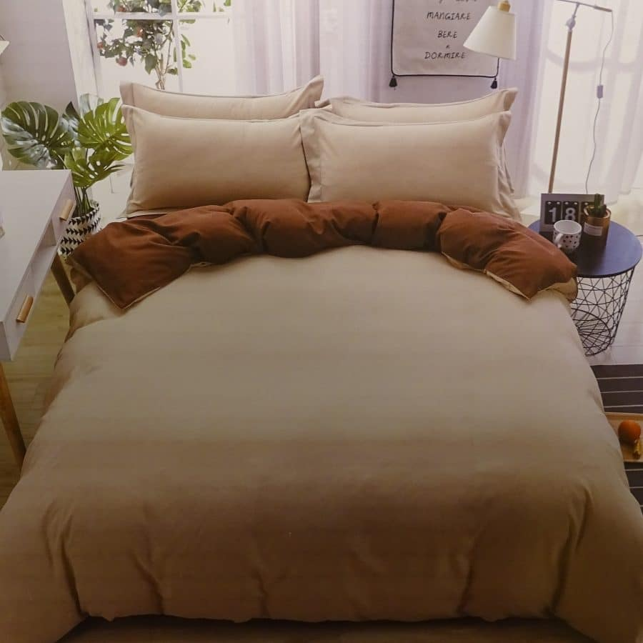 3 részes pamut ágynemű drapp és barna színben